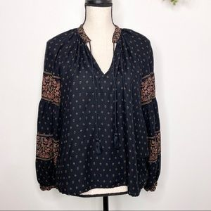 Lucky Brand Black Brown Peasant Boho Blouse Top